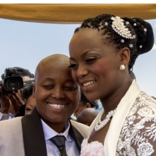 <p>Zanele Muholi (South African, born 1972). <em>Ayanda &amp; Nhlanhla Moremi&rsquo;s wedding I. Kwanele Park, Katlehong, 9 November 2013</em>, 2013. Chromogenic photograph, 10<sup>7</sup>&frasl;<sub>16</sub> x 14<sup>9</sup>&frasl;<sub>16</sub> in. (26.5 &times; 37 cm), framed. &copy; Zanele Muholi. Courtesy of Stevenson, Cape Town/Johannesburg and Yancey Richardson, New York</p>