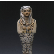 <p><em>Shawabti of the Lady of the House Sati</em>, circa 1390–1352 <small>B.C.E</small>. Faience, Height 9<sup>7</sup>/<sub>8</sub> in. (25 cm). Charles Edwin Wilbour Fund, 37.124E. (Photo: Brooklyn Museum)</p>