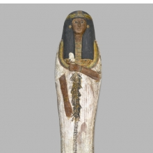 <p><em>Coffin of the Lady of the House, Weretwahset, Reinscribed for Bensuipet Containing Face Mask and Openwork Body Covering</em>, circa 1292–1190 <small>B.C.E</small>. Wood, painted (fragments a, b); Cartonnage, wood (fragment c; cartonnage (fragment d) , 37.47Ea–b Box with Lid in place: 25<sup>3</sup>/<sub>8</sub> x 19<sup>3</sup>/<sub>4</sub> x 76<sup>1</sup>/<sub>8</sub> in. (64.5 x 50 x 193.5 cm). Charles Edwin Wilbour Fund, 37.47Ea–d. (Photo: Sarah DeSantis, Brooklyn Museum)</p>
