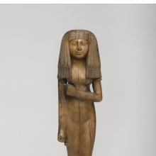 <p><em>Statuette of a Woman</em>, circa 1390–1353 <small>B.C.E</small>. Wood, 10<sup>1</sup>/<sub>8</sub> x 2<sup>3</sup>/<sub>4</sub> x 1<sup>7</sup>/<sub>8</sub> in. (25.6 x 7 x 4.8 cm). Charles Edwin Wilbour Fund, 54.29. (Photo: Jonathan Dorado, Brooklyn Museum)</p>
