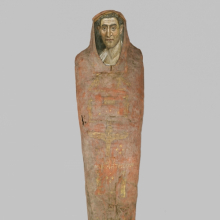 <p><em>The Mummy of Demetri[o]s</em>, 95–100 <small>C.E. </small>Painted cloth, gold, human remains, wood, encaustic, gilding, 13<sup>3</sup>⁄<sub>8</sub> x 15<sup>3</sup>⁄<sub>8</sub> x 74<sup>13</sup>⁄<sub>16</sub> in., 130 lb. (34 x 39 x 190 cm, 58.97kg). Brooklyn Museum, Charles Edwin Wilbour Fund, 11.600</p>