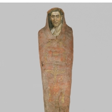 <p><em>The Mummy of Demetri[o]s</em>, 95&ndash;100 <small>C.E. </small>Painted cloth, gold, human remains, wood, encaustic, gilding, 13<sup>3</sup>&frasl;<sub>8</sub> x 15<sup>3</sup>&frasl;<sub>8</sub> x 74<sup>13</sup>&frasl;<sub>16</sub> in., 130 lb. (34 x 39 x 190 cm, 58.97kg). Brooklyn Museum, Charles Edwin Wilbour Fund, 11.600</p>