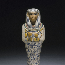<p><em>Shabty of Sati</em>. Egypt, reportedly from Saqqara. New Kingdom, Dynasty 18, circa1390–1352 <small>B.C.E</small>. Faience, height 9<sup>13</sup>/<sub>16</sub> in. (25 cm). Brooklyn Museum, Charles Edwin Wilbour Fund, 37.123E</p>