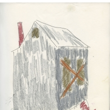 <p>Beverly Buchanan (American, 1940&ndash;2015) with poet Alice Lovelace (American, born 1948). <em>Shack Stories (Part I)</em>, 1990. Unpublished handmade book of ink and crayon drawings with watercolor and collaged typewritten text, 11 x 8<sup>1</sup>&frasl;<sub>2</sub> in. (27.9 x 21.6 cm). Private collection. &copy; Estate of Beverly Buchanan, courtesy of Jane Bridges</p>
