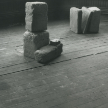 <p>Beverly Buchanan (American, 1940–2015).<em> Untitled (Slab Works 1)</em>, circa 1978–80. Black-and-white photograph of cast concrete sculptures with acrylic paint in artist studio, 8<sup>1</sup>⁄<sub>2</sub> x 11 in. (21.6 x 27.9 cm). Private collection. © Estate of Beverly Buchanan, courtesy of Jane Bridges</p>