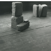 <p>Beverly Buchanan (American, 1940&ndash;2015).<em> Untitled (Slab Works 1)</em>, circa 1978&ndash;80. Black-and-white photograph of cast concrete sculptures with acrylic paint in artist studio, 8<sup>1</sup>&frasl;<sub>2</sub> x 11 in. (21.6 x 27.9 cm). Private collection. &copy; Estate of Beverly Buchanan, courtesy of Jane Bridges</p>