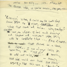 "<p>Beverly Buchanan (American, 1940–2015). <em>Untitled (""The doctor will, if you're lucky, see you, now."")</em>, July 1993. Unpublished writing in notebook. Private collection. © Estate of Beverly Buchanan, courtesy of Jane Bridges</p>"