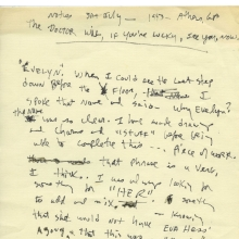 <p>Beverly Buchanan (American, 1940&ndash;2015). <em>Untitled (&ldquo;The doctor will, if you&#39;re lucky, see you, now.&rdquo;)</em>, July 1993. Unpublished writing in notebook. Private collection. &copy; Estate of Beverly Buchanan, courtesy of Jane Bridges</p>