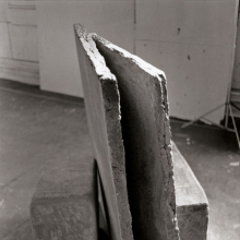 <p>Beverly Buchanan (American, born 1940). <em>Wall Fragments</em>, 1978. Three-part cast concrete sculpture (including vertical slab) with acrylic paint, dimensions unknown. © Estate of Beverly Buchanan, courtesy of Jane Bridges. (Photo: Courtesy of the Whitney Museum of American Art, New York, NY; Frances Mulhall Achilles Library, Artist File)</p>