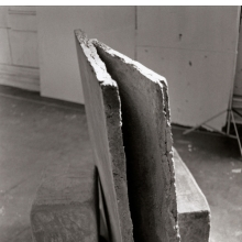 <p>Beverly Buchanan (American, born 1940). <em>Wall Fragments</em>, 1978. Three-part cast concrete sculpture (including vertical slab) with acrylic paint, dimensions unknown. &copy; Estate of Beverly Buchanan, courtesy of Jane Bridges. (Photo: Courtesy of the Whitney Museum of American Art, New York, NY; Frances Mulhall Achilles Library, Artist File)</p>