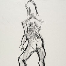 <p>Kallyiah Merilus (American, born 1996). <em>Untitled (Standing pose)</em>, from <em>Iggy Pop Life Class by Jeremy Deller</em>, 2016. Natural charcoal and compressed charcoal with erasing on paper, 24<sup>3</sup>/<sub>8</sub> x 18 in. (61.9 x 45.7 cm). Brooklyn Museum Collection, TL2016.8.11c. (Photo: Sarah DeSantis, Brooklyn Museum)</p>