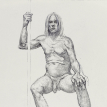 <p>Guno Park (Canadian, born South Korea 1979). <em>Untitled (Seated pose</em>), from <em>Iggy Pop Life Class by Jeremy Deller</em>, 2016. Black ballpoint pen on paper, 15 x 11<sup>1</sup>/<sub>4</sub> in. (38.1 x 28.6 cm). Brooklyn Museum Collection, TL2016.8.12e. (Photo: Sarah DeSantis, Brooklyn Museum)</p>