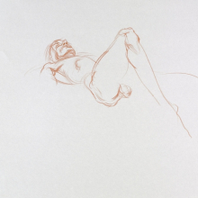 <p>Angel Ramirez (American, born Peru 1978). <em>Untitled (Lying pose)</em>, from <em>Iggy Pop Life Class by Jeremy Deller</em>, 2016. Orange colored pencil on paper, 14 x 17 in. (35.6 x 43.2 cm). Brooklyn Museum Collection, TL2016.8.14b. (Photo: Sarah DeSantis, Brooklyn Museum)</p>