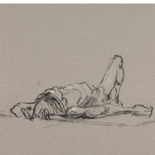 <p>Charlotte Segall (American, born 1983). <em>Untitled (Lying pose)</em>, from <em>Iggy Pop Life Class by Jeremy Deller</em>, 2016. Natural charcoal with white chalk on pink paper, 12<sup>3</sup>/<sub>4</sub> x 19<sup>5</sup>/<sub>8</sub> in. (32.4 x 49.8 cm). Brooklyn Museum Collection, TL2016.8.19b. (Photo: Sarah DeSantis, Brooklyn Museum)</p>