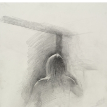 <p>Jeremy Day (American, born 1976). <em>Untitled (Seated pose, back view)</em>, from <em>Iggy Pop Life Class by Jeremy Deller</em>, 2016. Graphite pencil on paper, 22 x 15 in. (55.9 x 38.1 cm). Brooklyn Museum Collection, TL2016.8.1i. (Photo: Sarah DeSantis, Brooklyn Museum)</p>