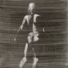<p>Levan Songulashvili (Georgian, born 1991). <em>Untitled (Standing pose)</em>, from <em>Iggy Pop Life Class by Jeremy Deller</em>, 2016. Black ink, brushed and blotted with scratching out, with black pencil on board, 16<sup>1</sup>/<sub>8</sub> x 12<sup>3</sup>/<sub>4</sub> in. (41 x 32.4 cm). Brooklyn Museum Collection, TL2016.8.21c. (Photo: Sarah DeSantis, Brooklyn Museum)</p>