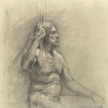 <p>Michael Grimaldi (American, born 1971). <em>Untitled (Seated pose)</em>, from <em>Iggy Pop Life Class by Jeremy Deller</em>, 2016. Graphite pencil and powdered graphite on paper, 18 x 12 in. (45.7 x 30.5 cm). Brooklyn Museum Collection, TL2016.8.22c. (Photo: Sarah DeSantis, Brooklyn Museum)</p>