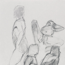<p>Jeanette Farrow. <em>Untitled (Four poses: Standing, view from left; lying; standing, view from right; and sitting)</em>, from <em>Iggy Pop Life Class by Jeremy Deller</em>, 2016. Compressed charcoal over graphite pencil on paper, 17 x 11 in. (43.2 x 27.9 cm). Brooklyn Museum Collection, TL2016.8.2a. (Photo: Sarah DeSantis, Brooklyn Museum)</p>