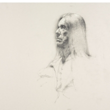 <p>Tobias Hall (American, born 1981). <em>Untitled (Seated pose, detail of face)</em>, from <em>Iggy Pop Life Class by Jeremy Deller</em>, 2016. Graphite pencil with touches of white chalk on paper, 19<sup>7</sup>/<sub>8</sub> x 25<sup>1</sup>/<sub>2</sub> in. (50.5 x 64.8 cm). Brooklyn Museum Collection, TL2016.8.6c. (Photo: Sarah DeSantis, Brooklyn Museum)</p>