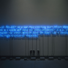 <p>Joseph Kosuth (American, born 1945). <em>276 (On Color Blue)</em>, 1993. Neon tubing, transformer, and electrical wires, 30 x 162 in. (76.2 x 411.48 cm). Brooklyn Museum; Mary Smith Dorward Fund, 1992.215. © 2016 Joseph Kosuth / Artists Rights Society (ARS), New York. (Photo: Brooklyn Museum)</p>