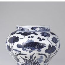 <p><em>Wine Jar with Fish and Aquatic Plants</em>. China, Yuan dynasty, 14th century. Porcelain with underglaze cobalt blue decoration, height: 11<sup>15</sup>/<sub><sup>16</sup></sub> in. (30.3 cm); diameter: 13<sup>3</sup>/<sub>4</sub> in. (34.9 cm). Brooklyn Museum; The William E. Hutchins Collection, Bequest of Augustus S. Hutchins, 52.87.1. (Photo: Jonathan Dorado, Brooklyn Museum)</p>