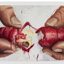 <p>Marilyn Minter (American, born 1948). <em>100 Food Porn #9</em>, 1989&ndash;90. Enamel on metal, 24 x 30 in. (61 x 76.2 cm). Hort Family Collection</p>