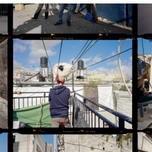 <p>Gilles Peress (French, born 1946.). <em>Contact Sheet, Palestinian Jerusalem</em>, 2013. Installation view detail, overall h. 129<sup>3</sup>&frasl;<sub>4</sub> in. (341 cm). &copy; Gilles Peress</p>