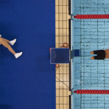 <p>Bob Martin (British, born 1959). <em>Avi Torres of Spain sets off at the start of the 200m freestyle heats, Paralympic Games, Athens</em>, September 1, 2004, printed 2016. Inkjet print, 9<sup>1</sup>⁄<sub>2</sub> x 14 in. (24.1 x 35.6 cm). Courtesy of Bob Martin/<em>Sports Illustrated</em></p>