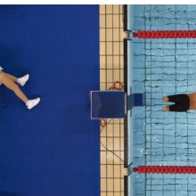 <p>Bob Martin (British, born 1959). <em>Avi Torres of Spain sets off at the start of the 200m freestyle heats, Paralympic Games, Athens</em>, September 1, 2004, printed 2016. Inkjet print, 9<sup>1</sup>&frasl;<sub>2</sub> x 14 in. (24.1 x 35.6 cm). Courtesy of Bob Martin/<em>Sports Illustrated</em></p>