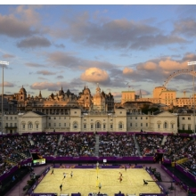 <p>Donald Miralle (American, born 1974). <em>Men&#39;s Beach Volleyball match between Brazil and Canada, London Olympics, The Horse Guards Parade ground, London, </em>2012. Archival inkjet print, 40 x 60 in. (101.6 x 152.4 cm). Leucadia Photoworks Gallery, courtesy of the artist</p>