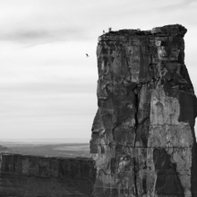 <p>Krystle Wright (Australian, born 1987).<em> Freefall, Michael Tomchek leaps off Castleton Tower (400ft) as fellow BASE jumpers look on, Castle Valley, Utah, 2010,</em> printed 2016. Inkjet print, 13<sup>1</sup>⁄<sub>4</sub> x 20 in. (33.9 x 50.8 cm). Collection of Krystle Wright</p>