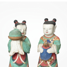 <p><em>Pair of Boy Attendants</em>. Korea, Joseon dynasty, 18th century with later coats of paint. Polychromed wood, 83.174.1: 19<sup>7</sup>/<sub>8</sub> x 9<sup>1</sup>/<sub>2</sub> x 8<sup>1</sup>/<sub>2</sub> in. (50.5 x 24.1 x 21.6 cm); 83.174.2: 19<sup>3</sup>/<sub>4</sub> x 9<sup>1</sup>/<sub>2</sub> x 8<sup>1</sup>/<sub>2</sub> in. (50 x 24.1 x 21.6 cm). Brooklyn Museum; Gift of Dr. and Mrs. Stanley L. Wallace, 83.174.1&ndash;.2. (Photo: Jonathan Dorado, Brooklyn Museum)</p>