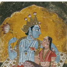 <p><em>Krishna and Radha</em>. India, circa 1690&ndash;1700. Opaque watercolor with embossed gold on paper, 10<sup>1</sup>/<sub>8</sub> x 7 in. (25.7 x 17.8 cm). Brooklyn Museum Collection, 37.122.<br /> (Photo: Brooklyn Museum)</p>