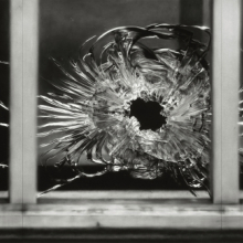 <p>Robert Longo (American, born 1953). <em>Untitled (Bullet Hole in Window, January 7, 2015)</em>, 2015–16. Charcoal on mounted paper, 76 x 143 in. (193 x 363.2 cm). © Robert Longo, Ståhl Collection Norrköping, Sweden. (Photo: Courtesy of the artist and Galerie Thaddaeus Ropac; London, Paris, Salzburg)</p>