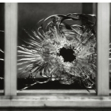 <p>Robert Longo (American, born 1953). <em>Untitled (Bullet Hole in Window, January 7, 2015)</em>, 2015&ndash;16. Charcoal on mounted paper, 76 x 143 in. (193 x 363.2 cm). &copy; Robert Longo, St&aring;hl Collection Norrk&ouml;ping, Sweden. (Photo: Courtesy of the artist and Galerie Thaddaeus Ropac; London, Paris, Salzburg)</p>