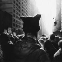 <p>Robert Longo (American, born 1953). <em>Untitled (Black Pussy Hat in Women's March)</em>, 2017. Charcoal on mounted paper, 60 x 106<sup>5</sup>/<sub>8</sub> in. (152.4 x 270.8 cm). © Robert Longo, Courtesy of the artist, Metro Pictures, New York, and Galerie Thaddaeus Ropac; London, Paris, Salzburg</p>