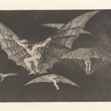 <p>Francisco de Goya (Spanish, 1746–1828). <em>Where There's a Will There's a Way [A Way of Flying] (Donde Hay Ganas Hay Maña [Modo de Volar])</em>, circa 1813–1820. From <em>The Proverbs (Los Proverbios; Los Disparates)</em>. Etching and aquatint. Davison Art Center, Wesleyan University, Middletown, C.T.; Gift of George W. Davison (B.A. Wesleyan 1892),1949.D3.7.13. Open Access Image from the Davison Art Center, Wesleyan University. (Photo: R. Lee)</p>