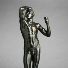 <p>Auguste Rodin (French, 1840–1917). <em>The Age of Bronze, First Reduction</em>, 1876 (reduction probably 1903‒04), cast 1967. Cast by Georges Rudier Fondeur, Paris. Bronze, 41<sup>1</sup>/<sub>4</sub> x 15 x 13 in. (104.8 x 38.1 x 33 cm). Brooklyn Museum; Gift of the Iris and B. Gerald Cantor Foundation, 68.49. (Photo: Justin Van Soest)</p>