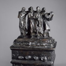 <p>Auguste Rodin (French, 1840–1917). <em>Monument to the Burghers of Calais, First Maquette</em>, November 1884, cast circa 1967. Cast by Émile Godard Fondeur, Paris. Bronze, 23<sup>3</sup>/<sub>4 </sub>x 14<sup>7</sup>/<sub>8</sub> x 13 in. (60.3 x 37.8 x 33 cm). Brooklyn Museum; Gift of the Iris and B. Gerald Cantor Foundation, 84.75.19. (Photo: Justin Van Soest)</p>