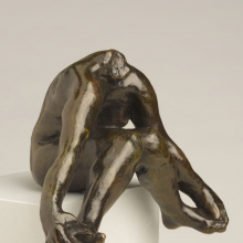<p>Auguste Rodin (French, 1840–1917). <em>Seated Bather with Feet Apart</em>, 1895–1900; cast after 1972. Cast by Georges Rudier Fondeur, Paris. Bronze, 5<sup>1</sup>/<sub>8</sub> x 6<sup>3</sup>/<sub>4</sub> x 4<sup>3</sup>/<sub>8</sub> in. (13 x 17.1 x 11.1 cm). Brooklyn Museum; Gift of the Iris and B. Gerald Cantor Foundation, 84.75.1. (Photo: Sarah DeSantis)</p>