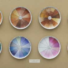 <p>Judy Chicago (American, born 1939). <em>China-painting Color Test Plates</em> from <em>The Dinner Party</em>, 1974. Porcelain and china paint, twelve plates, 34<sup>3</sup>/<sub>4</sub> x 84 x 8 in. (88.3 x 213.4 x 20.3 cm). Brooklyn Museum, Gift of the artist, 2014.71. &copy; 2017 Judy Chicago / Artists Rights Society (ARS), New York. (Photo: Jonathan Dorado, Brooklyn Museum)</p>