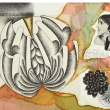 <p>Judy Chicago (American, born 1939). <em>Study for Virginia Woolf</em> from <em>The Dinner Party</em>, 1978. Ink, photo, and collage on paper, approx. 24 &times; 36 in. (61 &times; 91.4 cm). National Museum of Women in the Arts, Washington, D.C.; Gift of Mary Ross Taylor in honor of Elizabeth A. Sackler, 2007.81. &copy; 2017 Judy Chicago / Artists Rights Society (ARS), New York. (Photo: Lee Stalsworth)</p>