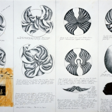 <p>Judy Chicago (American, born 1939). <em>Study for C. Herschel, S. Anthony, E. Blackwell, and E. Smyth plates</em> from <em>The Dinner Party</em>, 1978. Ink and collage on paper, 23 x 35 in. (58.4 x 88.9 cm). Courtesy of the artist. &copy; 2017 Judy Chicago/Artists Rights Society (ARS), New York. (Photo &copy; Donald Woodman)</p>