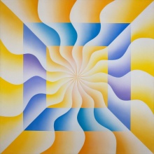 <p>Judy Chicago (American, born 1939). <em>Christina of Sweden (Great Ladies Series)</em>, 1973. Sprayed acrylic on canvas, 40 x 40 in. (101.6 x 101.6 cm). Collection of Elizabeth A. Sackler. &copy; 2017 Judy Chicago / Artists Rights Society (ARS), New York. (Photo &copy; Donald Woodman)</p>