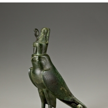 <p><em>Horus Falcon-Form Coffin</em>. From Egypt. Late Period to Ptolemaic Period, circa 664&ndash;30 <small>B.C.E.</small> Bronze, gold, 11<sup>5</sup>/<sub>16</sub> x 2<sup>5</sup>/<sub>8</sub> x 8<sup>3</sup>/<sub>16</sub> in. (28.8 x 6.6 x 20.8 cm). Brooklyn Museum; Charles Edwin Wilbour Fund, 05.394. (Photo: Gavin Ashworth, Brooklyn Museum)</p>