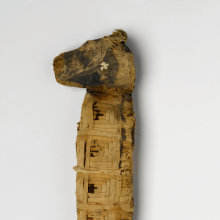 <p><em>Dog Mummy</em>. From Egypt. Late Period to Ptolemaic Period, 510–230 <small>B.C.E.</small> Animal remains, linen, 3<sup>1</sup>/<sub>4</sub> x 17 x 5<sup>1</sup>/<sub>2</sub> in. (8.3 x 43.2 x 14 cm). Brooklyn Museum; Charles Edwin Wilbour Fund, 37.1984E. (Photo: Christine Gant, Brooklyn Museum)</p>