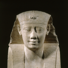 <p><em>King Ptolemy II</em>. Reportedly from Benha il-Assel, Egypt. Ptolemaic Period, reign of Ptolemy II, 285–246 <small>B.C.E.</small> Limestone, 17<sup>1</sup>/<sub>2</sub> x 13<sup>3</sup>/<sub>4</sub> x 7<sup>1</sup>/<sub>2</sub> in. (44.5 x 34.9 x 19.1 cm). Brooklyn Museum; Charles Edwin Wilbour Fund, 37.37E. (Photo: Brooklyn Museum)</p>