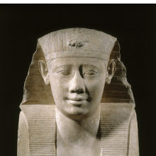 <p><em>King Ptolemy II</em>. Reportedly from Benha il-Assel, Egypt. Ptolemaic Period, reign of Ptolemy II, 285&ndash;246 <small>B.C.E.</small> Limestone, 17<sup>1</sup>/<sub>2</sub> x 13<sup>3</sup>/<sub>4</sub> x 7<sup>1</sup>/<sub>2</sub> in. (44.5 x 34.9 x 19.1 cm). Brooklyn Museum; Charles Edwin Wilbour Fund, 37.37E. (Photo: Brooklyn Museum)</p>
