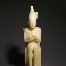 <p><em>Pepy I with Horus Falcon</em>. From Upper Egypt. Old Kingdom, Dynasty 6, reign of Pepy I, circa 2338–2298 <small>B.C.E.</small> Egyptian alabaster, 10<sup>7</sup>/<sub>16</sub> in. (26.5 cm) high. Brooklyn Museum; Charles Edwin Wilbour Fund, 39.120. (Photo: Brooklyn Museum)</p>