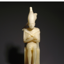 <p><em>Pepy I with Horus Falcon</em>. From Upper Egypt. Old Kingdom, Dynasty 6, reign of Pepy I, circa 2338&ndash;2298 <small>B.C.E.</small> Egyptian alabaster, 10<sup>7</sup>/<sub>16</sub> in. (26.5 cm) high. Brooklyn Museum; Charles Edwin Wilbour Fund, 39.120. (Photo: Brooklyn Museum)</p>
